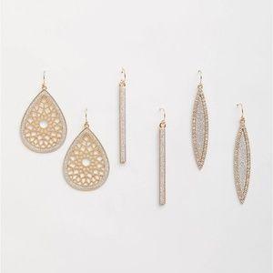 Torrid earrings set dressy gold & rhinestones NWT